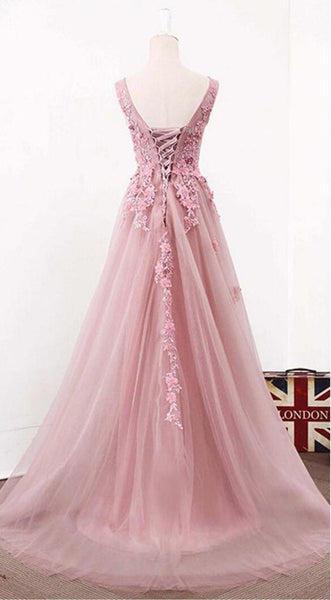 Blush Pink Lace A line See Through Long Prom Dresses Party Dresses at promnova.com