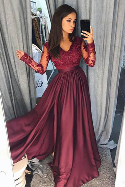 Burgundy Long Sleeves A-line V-neck Long Prom Dresses Party Dresses PL260