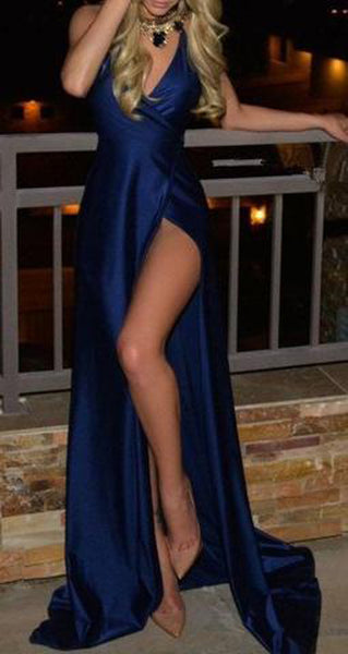 Royal Blue Slit Satin Deep Floor-Length V-Neck Sleeveless Prom Dresses at promnova.com