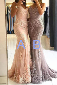 Spaghetti Straps Lace Mermaid Sweetheart Floor Length Long Prom Dresses PL264