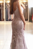 Spaghetti Straps Lace Mermaid Sweetheart Floor Length Long Prom Dresses at promnova.com