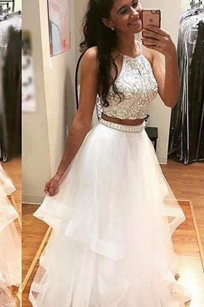 White Beaded A-line Tulle Two Pieces Ball Long Prom Dress PL265