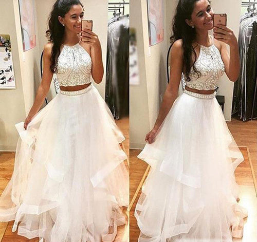 White Beaded A-line Tulle Two Pieces Ball Long Prom Dress at promnova.com