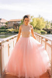 Charming Tulle Halter Ball Gown Beading Long Prom Dress,Evening Dress PL266