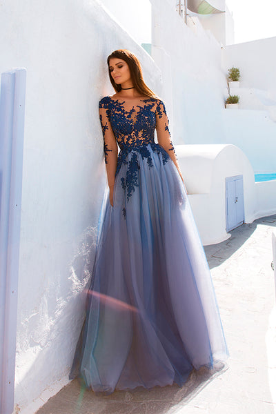 Open Back See Through Blue Lace Long Sleeve Long Prom Dress PL267