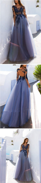 Open Back See Through Blue Lace Long Sleeve Long Prom Dress at promnova.com