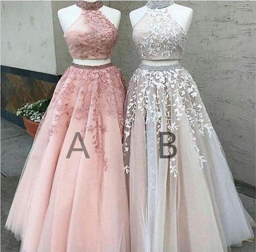 Two-pieces Floor-length Sleeveless High-neck Elegant Long Prom Dresses at promnova.com