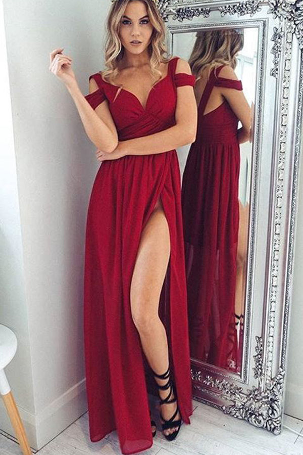 Dark Red Chiffon A-Line Straps Backless Floor-Length Prom Dress with Side Slit PL276
