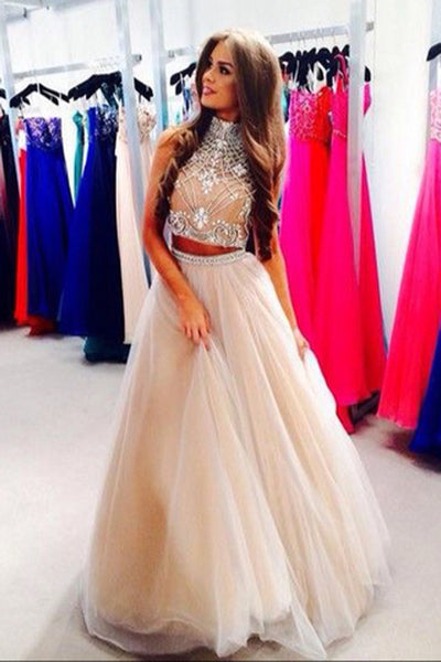 Two Pieces Halter Prom Dresses Floor Length A-line Prom Dresses PL277