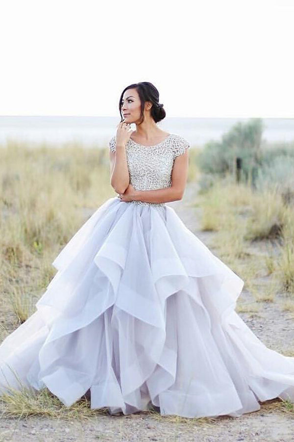 Elegant Lace Beaded A-line Ball Gown Cap Sleeve Long Prom Dresses PL278