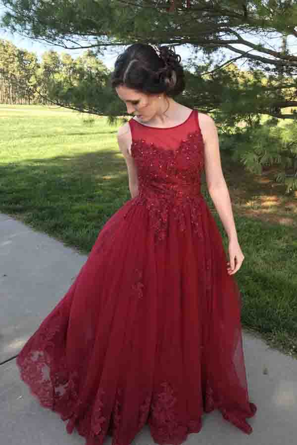 Burgundy Lace A-Line Formal Dresses,Sweep Train Long Prom Dresses PL281