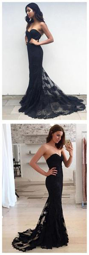 Black Mermaid Strapless Sweetheart Party Evening Long Prom Dress at promnova.com