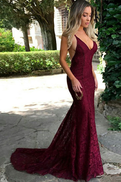 Red Lace Spaghetti Straps Mermaid Long Prom Dresses,Evening Dress PL284