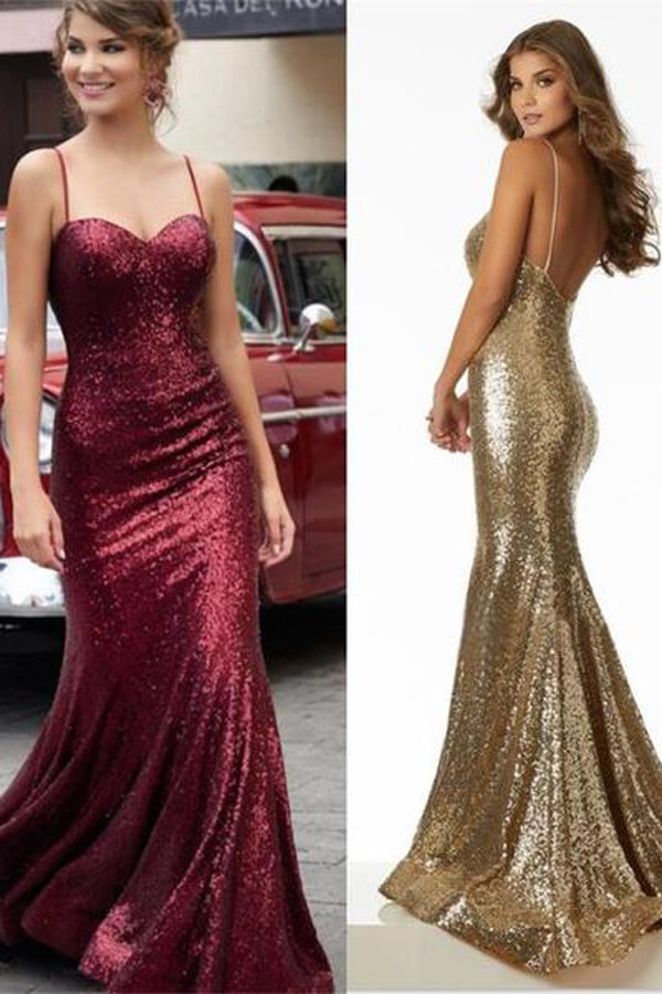Charming Red Gold Black Sequin Sparkly Prom Dresses,Formal