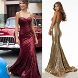 Charming Red Gold Black Sequin Sparkly Prom Dresses,Formal Dresses at promnova.com