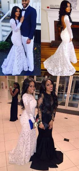 Backless Long Sleeves Lace Beautiful Prom Dresses, Party Dresses at promnova.com