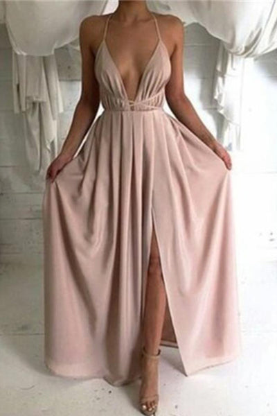 Long Backless Sleeveless Simple Chiffon Halter Cheap Prom Dresses PL288