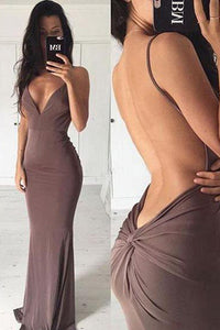 Chocolate Spaghetti Straps Sheath/Column Long Prom Dress Evening Dress PL293