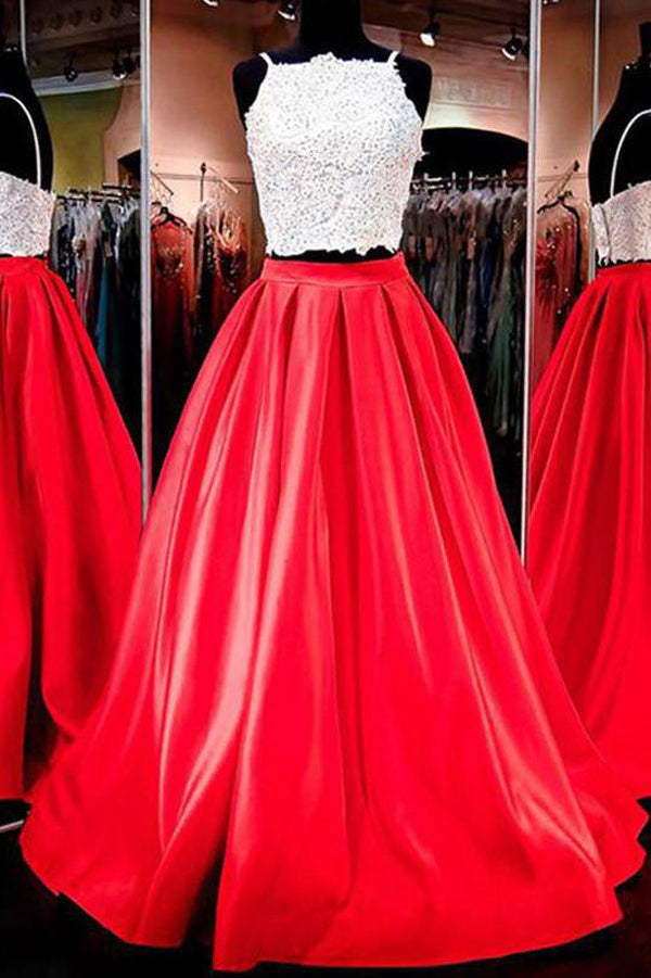 Red Two Piece Spaghetti Straps A Line Satin Long Prom Dress PL294