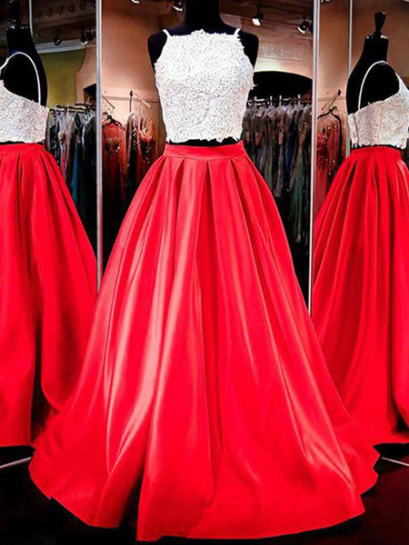 Red Two Piece Spaghetti Straps A Line Satin Long Prom Dress at promnova.com