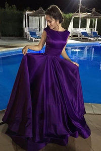 Satin Simple Chic A-Line Bateau Regency Long Prom Dress Evening Dress PL296