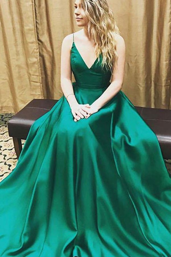 Green Simple A-Line V-Neck Simple Long Prom Dresses,Evening Dress PL297
