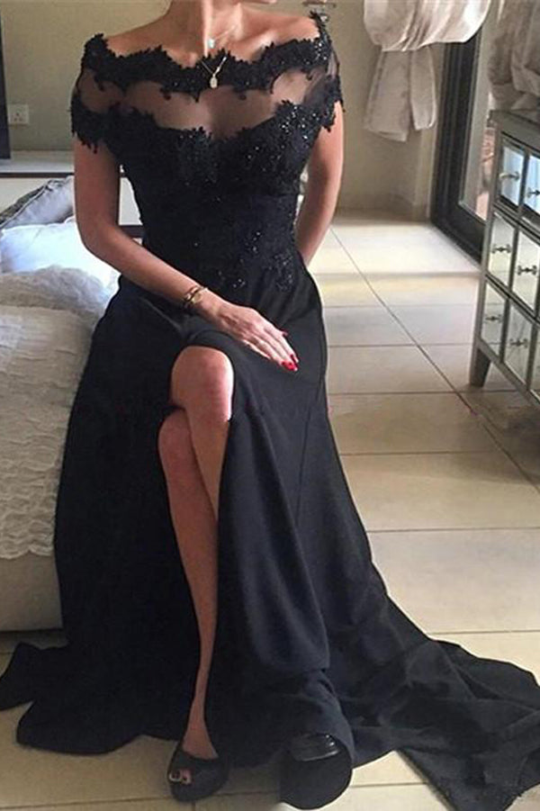 Black Lace Off-The-Shoulder Scoop Long Prom Dress Evening Dress PL300