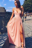 Pink V Neck Spaghetti Strap Long Prom Dress, Cheap Formal Dress PL301