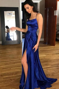 Gorgeous Blue A-Line Satin Backless Split Long Prom Dress with Sweep Train PL303