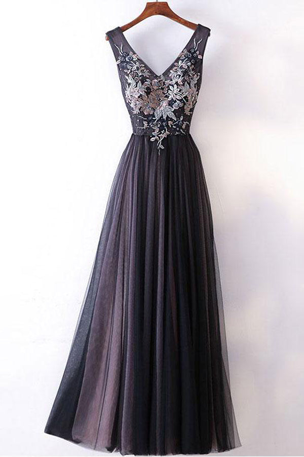 A-line  Lace V-neck Appliqued Long Prom Dresses Evening Gowns PL304