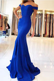 Royal Blue Simple Cheap Evening Dresses, Mermaid Prom Dresses with Train PL305