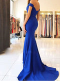 promnova.com|Royal Blue Simple Cheap Evening Dresses, Mermaid Prom Dresses with Train PL305