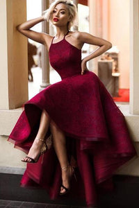 Burgundy Asymmetrical Halter A Line Sleeveless Long Prom Dress,Formal Dress PL308