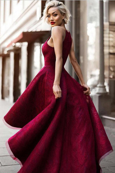 promnova.com|Burgundy Asymmetrical Halter A Line Sleeveless Long Prom Dress,Formal Dress PL308