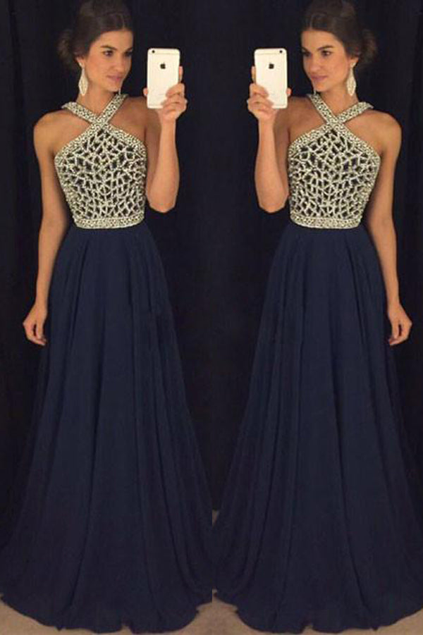 Dark Blue Long Prom Dress For Teens With Beading Cheap Formal Dress