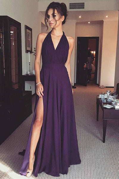 Chiffon Purple Simple V Neck Long Prom Dress With Side, Evening Dress PL311