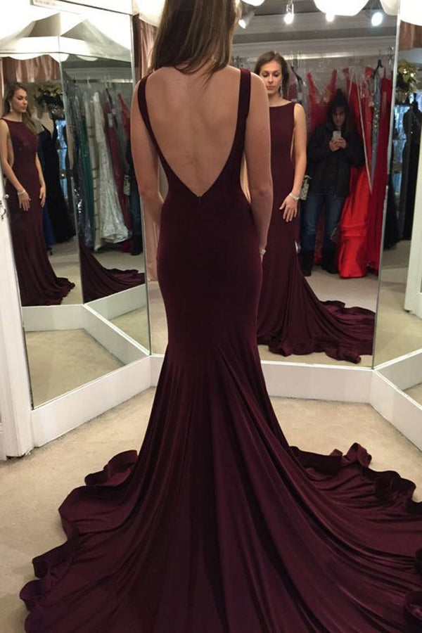 Elegant Burgundy Backless Scoop Sweep Train Prom Dress Evening Gown PL312