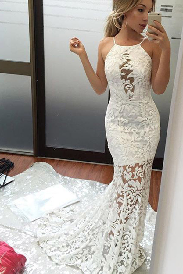 Scoop Neck Lace Trumpet Mermaid Sweep Train Prom Dresses with Appliques PL314