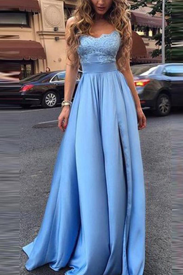Simple A-line Blue Lace Bodice Sweetheart Long Prom Dresses Evening Dress PL315