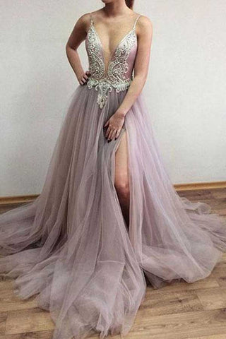 Charming Tulle A-line V-neck Side Split Affordable Long Prom Dress PL318