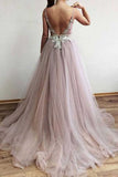 Charming Tulle A-line V-neck Side Split Affordable Long Prom Dress|promnova.com