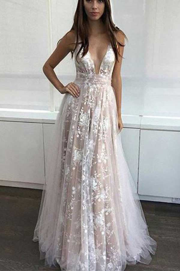 Simple Tulle Lace V Neck Long Prom Dress Lace Evening Dress PL319