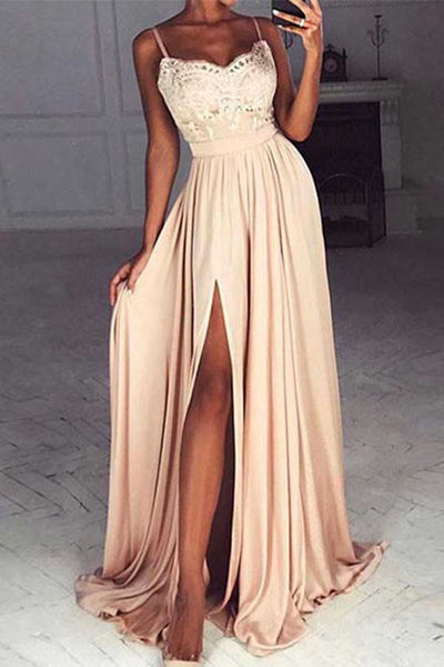 Chiffon A-line Sweetheart Lace Long Prom Dress with Side Slit PL320