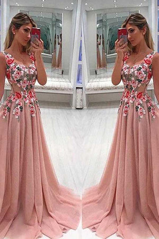 Unique Tulle Lace V Neck Long Prom Dress With Appliques PL321