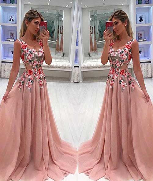 Unique Tulle Lace V Neck Long Prom Dress With Appliques at promnova.com
