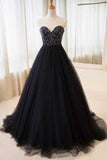 Black Sweetheart Neck Tulle Long Prom Dress Evening Dress PL322