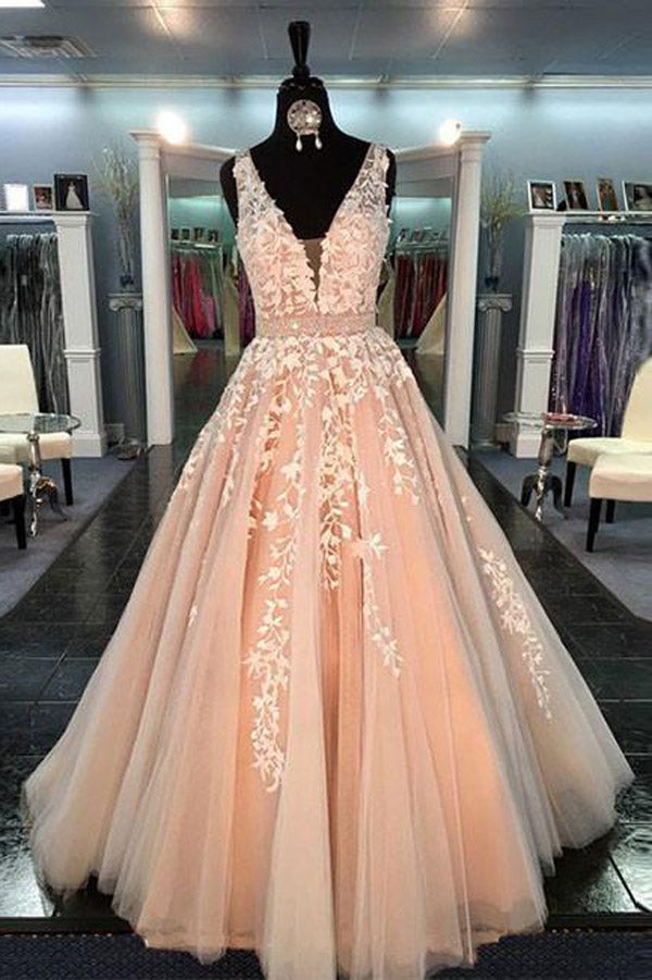 Gorgeous Tulle Lace V Neck Long Prom Dress For Teens, Evening Dress PL325