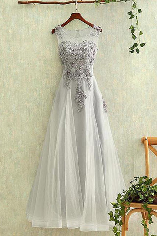 Gray Tulle Lace Round Neck Long Prom Dress, Formal Dresses, Evening Dress PL326