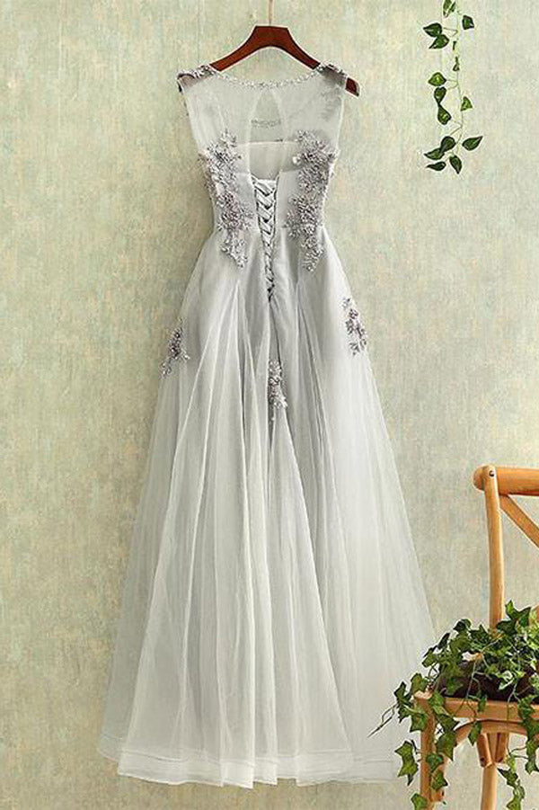 promnova.com|Gray Tulle Lace Round Neck Long Prom Dress, Formal Dresses, Evening Dress