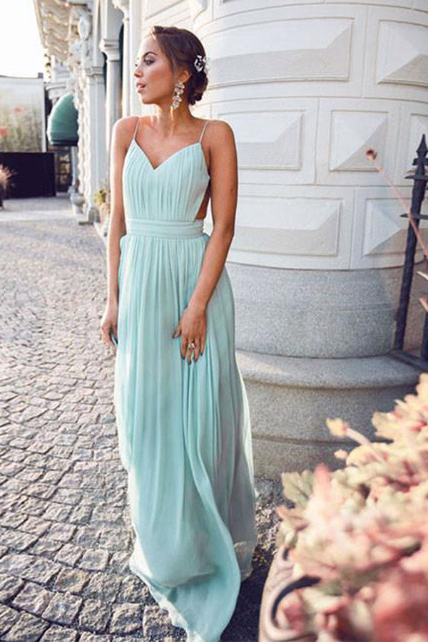 Simple Chiffon Green A-Line Backless Long Prom Dress, Formal Dress ...